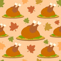 Thanksgiving seamless background with cooked turke turkey vector Stock Photos