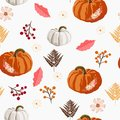 Thanksgiving seamless background - leaves, berries and pumpkin pattern.