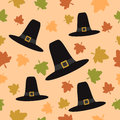 Thanksgiving seamless background with pilgrim hat vector Stock Photography