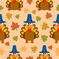 Thanksgiving seamless background with turkey vector Stock Photo