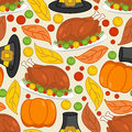 Thanksgiving seamless pattern. Roasted turkey and fresh pumpkin.