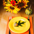 Thanksgiving serving table party for a dinner Stock Photo