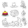 Thanksgiving Sketch Set Stock Images