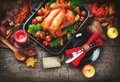 Thanksgiving table served with turkey Royalty Free Stock Photo