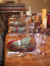 Thanksgiving table the is set for dinner with appropriate fall colors Royalty Free Stock Photo