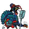 Thanksgiving Turkey character singer. Isolate on white backgroun