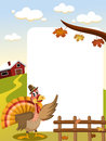 Thanksgiving turkey frame illustration featuring a funny cartoon with pilgrim hat in countryside presenting showing or indicating Royalty Free Stock Photos