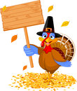 Thanksgiving turkey holding sign Royalty Free Stock Photo