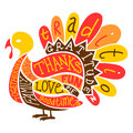 Thanksgiving turkey an illustration of a made up from words often associated with the holiday Royalty Free Stock Photo