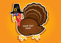 Thanksgiving Turkey Pilgrim label / Sticker in vec Stock Images