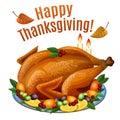 Thanksgiving Turkey on platter with garnish, roast turkey dinner Royalty Free Stock Photo