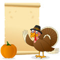 Thanksgiving Turkey and Scroll Stock Photography