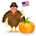Thanksgiving Turkey USA Flag & Pumpkin