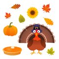 Thanksgiving vector set with turkey, pie, pumpkin, leaves and sunflower