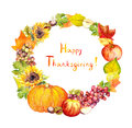 Thanksgiving wreath. Fruits, vegetables - pumpkin, apples, grape, leaves. Watercolor Royalty Free Stock Photo