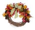 Thanksgiving wreath from man made meterial isolated on white Royalty Free Stock Photos