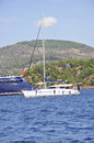 Thassos, August 21st: Sailing Boat on the Aegean Sea near Thassos island in Greece