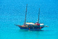 THASSOS, GREECE - SEPTEMBER 05 2016 - Tourists on old sailing ship in Thassos, Greece