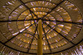 Thatch roof made from dried palm leaves took from below and inside the shed on the sunny day in tropical area. Royalty Free Stock Photo