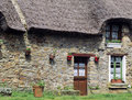 Thatched cottage france Royalty Free Stock Photos