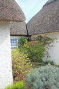 Thatched cottage secret garden photo showing a with rose bushes hidden between kent cottages Stock Photography