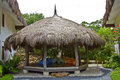 Thatched hut with sofa in luxury resort cebu philippines Royalty Free Stock Photography