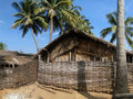 Thatched huts and palm trees Royalty Free Stock Photography
