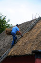Thatching a roof Royalty Free Stock Photos
