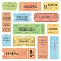 Theater or cinema admit one tickets, circus coupons and vintage old receipt. Retro ticket collection vector design