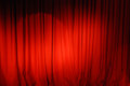 Theater curtain background red velvet stage curtains with stage floor Stock Image