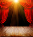Theater curtains and wood floor Stock Photo