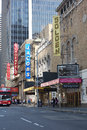 Theater district forty fifth street in the heart of new york s home to the booth shoenfeld jacobs and golden theaters Stock Photos