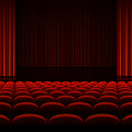 Theater interior with red curtains and seats illustration Royalty Free Stock Image