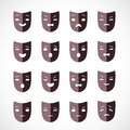 Theater mask set of masks for drama and humor vector illustration Stock Photography