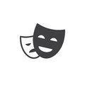 Theater masks icon vector, filled flat sign, solid pictogram isolated on white. Royalty Free Stock Photo