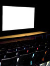 Theater with movie screen seats and blank Stock Images