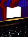 Theater with red and blue curtains empty seats screen Stock Photo