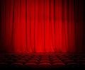 Theater red curtains and seats rows Royalty Free Stock Images