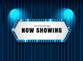 Theater sign on curtain with spotlight vector