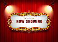 Theater sign on curtain Royalty Free Stock Photo