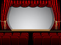 Theater stage couple minutes before performance vector illustration Royalty Free Stock Photo