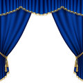 Theater stage mesh with blue curtain Stock Photography