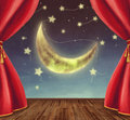 Theater stage with moon stars and Stock Image