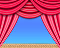 Theater stage opened red curtain Royalty Free Stock Photos