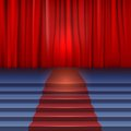 Theater stage with red curtain and carpet stairs covered Stock Image