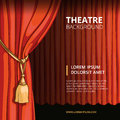 Theater stage with a red curtain. Vintage vector Royalty Free Stock Photo