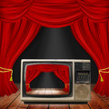 Theater stage with red curtains and spotlights. Theatrical scene Royalty Free Stock Photo
