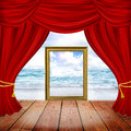 Theater stage with red curtains and spotlights. Royalty Free Stock Photo