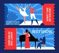 Theater tickets to best show, entertainment performance, vector illustration. Coupon design set for retro event, concert Royalty Free Stock Photo