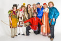 Theater troupe in costumes Royalty Free Stock Photos